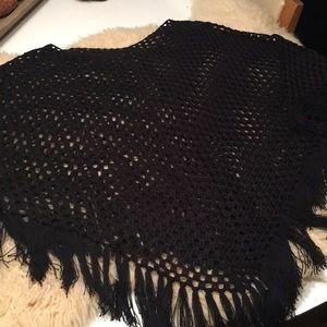Black Crocheted/Knitted Poncho/Shrug